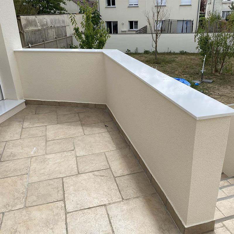 appui de rampe d'escalier en quartz blanc